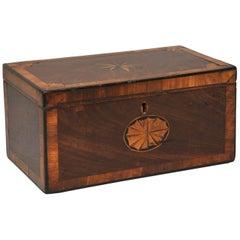 Mahogany 3 Portioned Satinwood Inlaid Tea Caddy, circa 1850