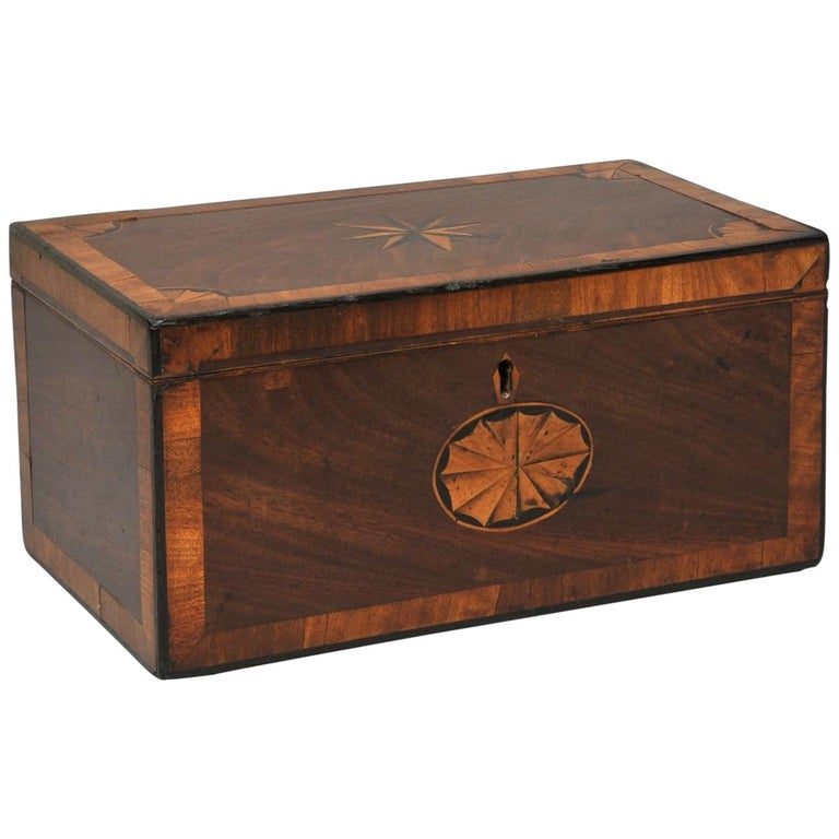 Mahogany 3 Portioned Satinwood Inlaid Tea Caddy, circa 1850 For Sale