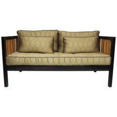 Mahogany and Ash Loveseat, Settee after a Design by Edward Wormley for Dunbar
