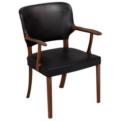 Mahogany and Black Leather Armchair by Ole Wanscher, Denmark, circa 1940