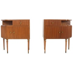 Mahogany and Brass Bedside Tables by Paolo Buffa, Italy, 1950s