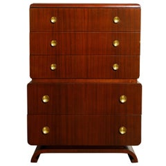 Mahogany and Brass Highboy Dresser by John Stuart Inc. New York, c 1940s, Signed