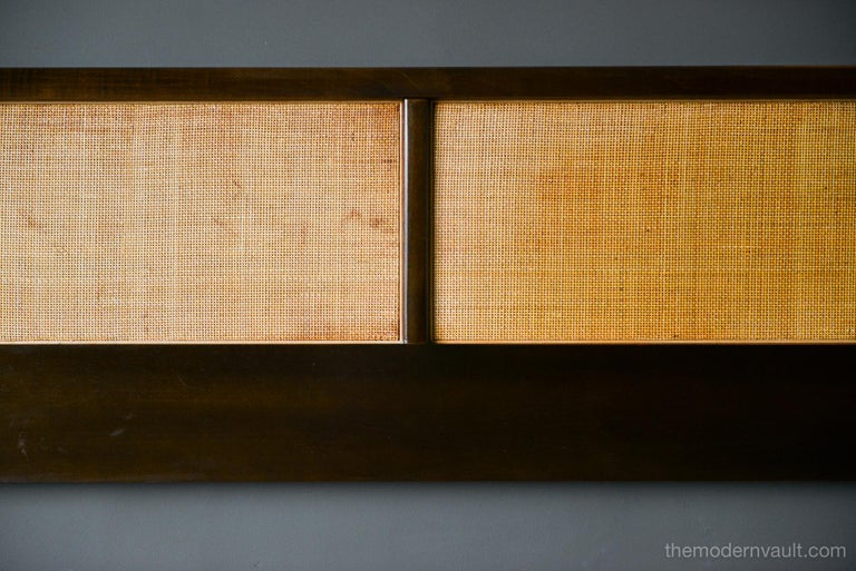 Mid-Century Modern Mahogany and Cane King Headboard, circa 1965 For Sale