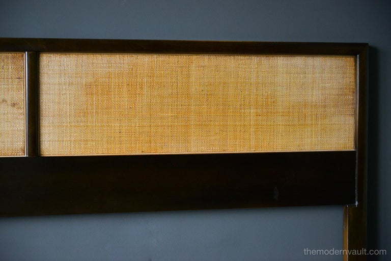 Mahogany and Cane King Headboard, circa 1965 In Good Condition For Sale In Costa Mesa, CA