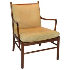 Mahogany and Cream Leather Colonial Chair by Ole Wanscher for Poul Jeppesen
