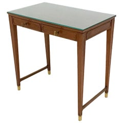 Wooden and Crystal Bedroom Writing Desk in the Style of Gio Ponti, Italy 1950s