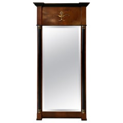 Mahogany and Ebonized Wood Empire Style Mirror