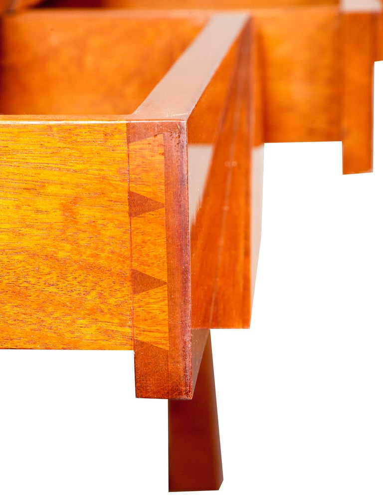 Colorful Modernists Art  Inspired Sculptural Mahogany Desk with Secret Drawers For Sale 6