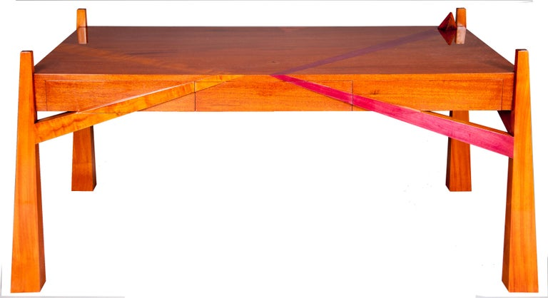 Expressionist Colorful Modernists Art  Inspired Sculptural Mahogany Desk with Secret Drawers For Sale
