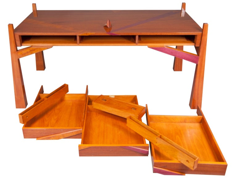 Inlay Colorful Modernists Art  Inspired Sculptural Mahogany Desk with Secret Drawers For Sale
