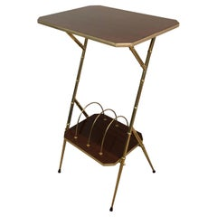 Mahogany and Faux-Bamboo Gilt Metal Side Table with Magazine Rack