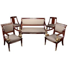 Mahogany and Gilt Bronze Living Room Set in Return from Egypt Style