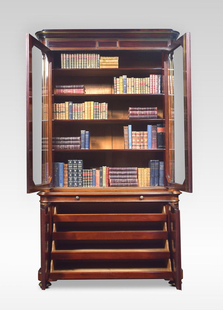 French Mahogany and Gilt Metal Mounted Two-Door Bookcase For Sale