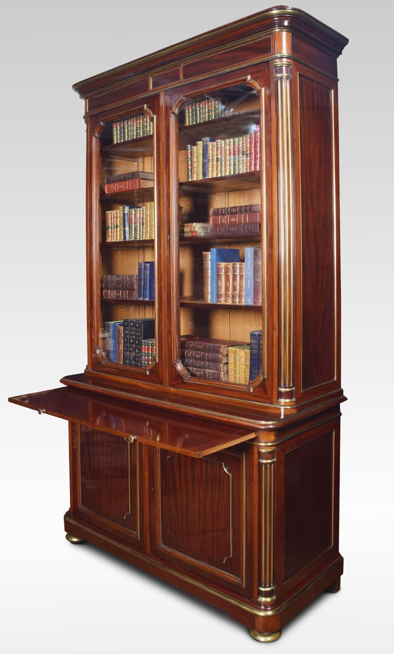 Mahogany and Gilt Metal Mounted Two-Door Bookcase In Good Condition For Sale In Cheshire, GB