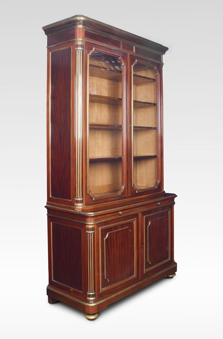 19th Century Mahogany and Gilt Metal Mounted Two-Door Bookcase For Sale