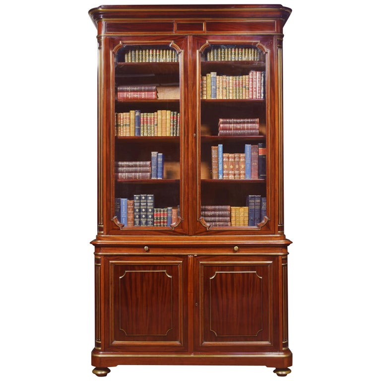 Mahogany and Gilt Metal Mounted Two-Door Bookcase For Sale