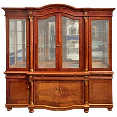Mahogany and Giltwood Marquetry Breakfront