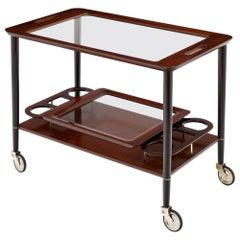Mahogany and Glass Bar Cart