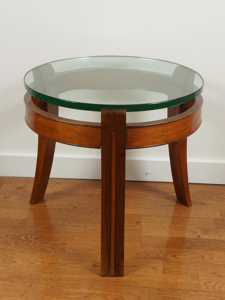Italian Mahogany and Glass Occasional Table by Fontana Arte For Sale
