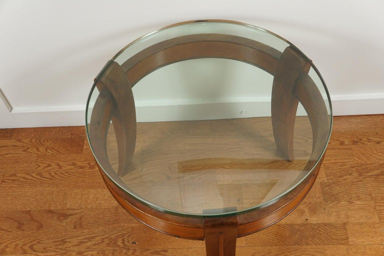 Mahogany and Glass Occasional Table by Fontana Arte In Good Condition For Sale In Hudson, NY