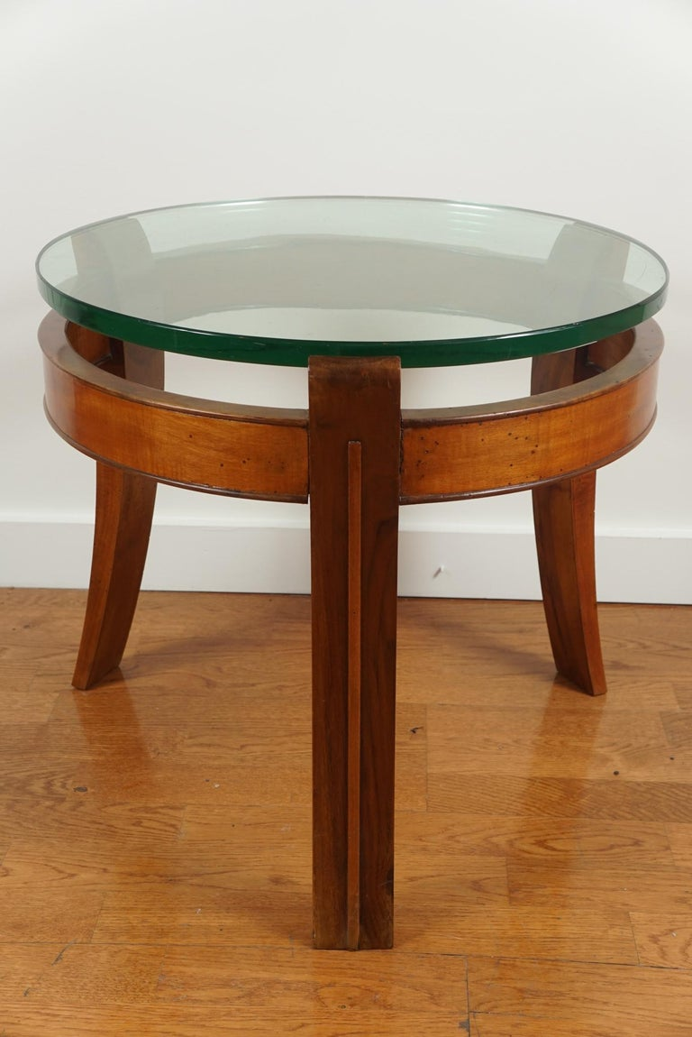 Mahogany and Glass Occasional Table by Fontana Arte For Sale 1