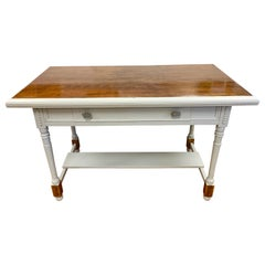 Mahogany and Gray Painted Writing Desk Table