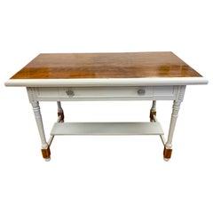 Mahogany and Gray Painted Writing Desk Table