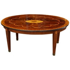 Mahogany and Inlaid Coffee Table, Late 19th Century Top with Associated Base