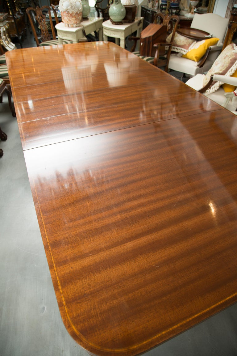 Hand-Crafted Mahogany and Inlaid Dining Room Table For Sale