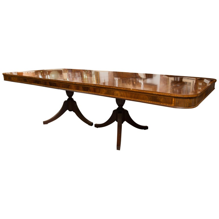 Mahogany and Inlaid Dining Room Table For Sale
