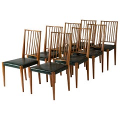 Mahogany and Leather Dining Chairs by Josef Frank
