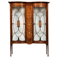 Mahogany and Marquetry Inlaid Display Cabinets