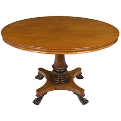 Mahogany and Oak Empire Style Large Oval Center Foyer Table Claw Foot Pedestal
