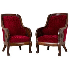 Mahogany and Red Velvet Armchairs in Empire Style