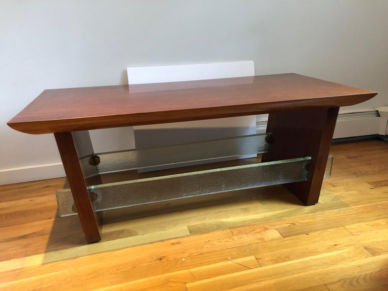 Mid-Century Modern Mahogany and Saint Gobain Glass Cocktail Table Attributed to Adnet For Sale