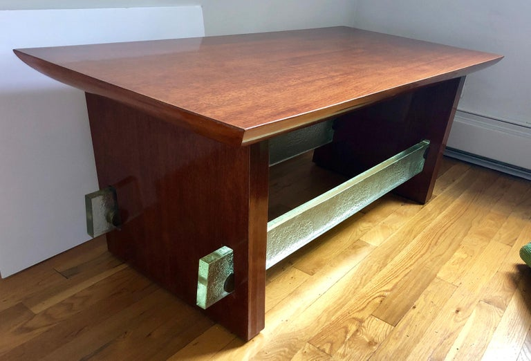 Mahogany and Saint Gobain Glass Cocktail Table Attributed to Adnet For Sale 3