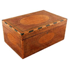 Mahogany and Satinwood Deed Box, 19th Century