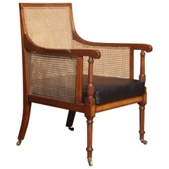 Mahogany and Satinwood Inlaid Bergère Armchair