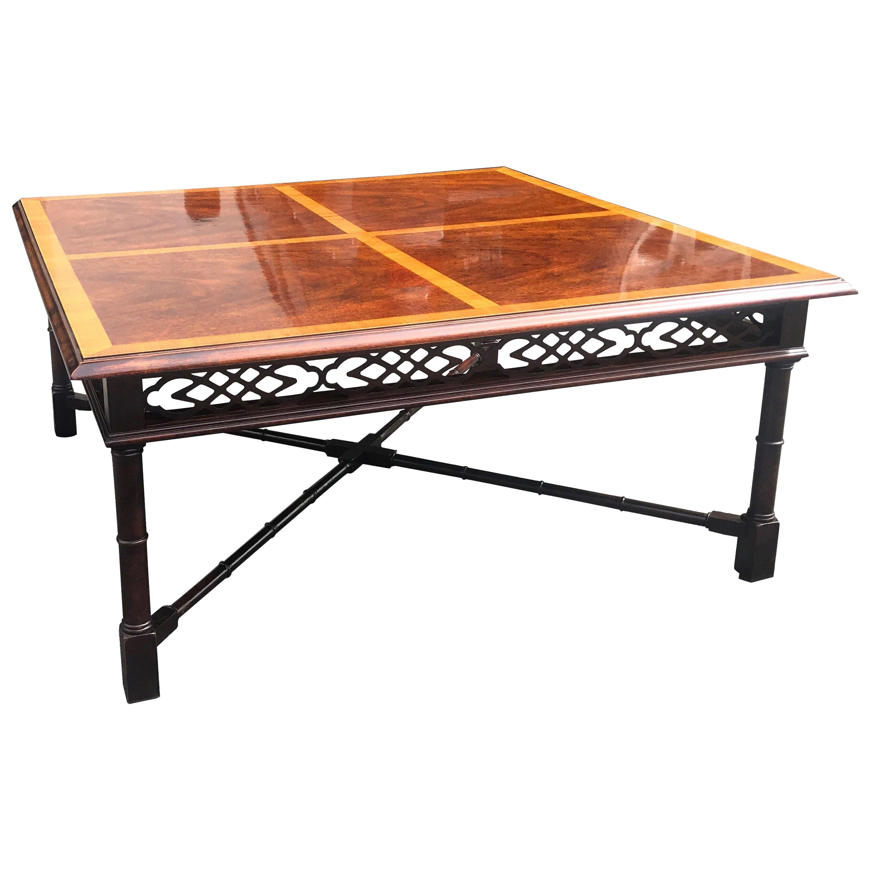 Mahogany and Satinwood Regency Style Square Coffee Table