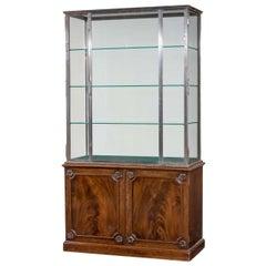 Mahogany and Steel Display Cabinet