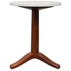 Mahogany and Stone Gueridon Side Table by Edward Wormley for Dunbar