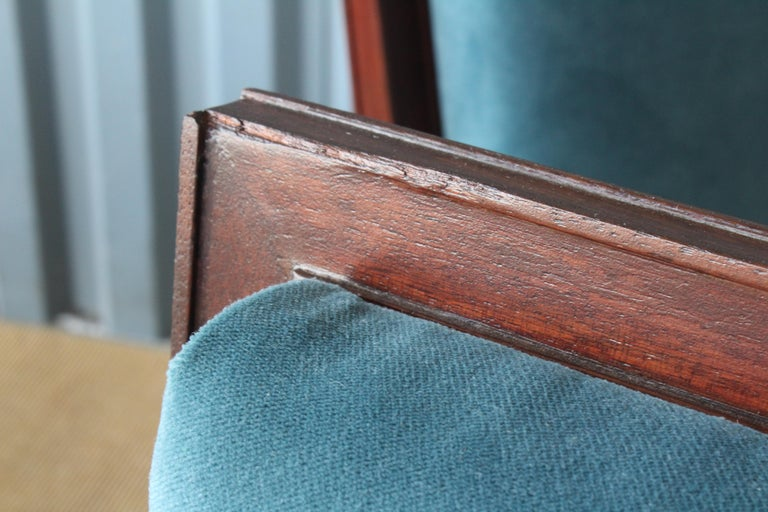 Mahogany Armchair in Velvet, France, 1940s. Set of Four Available. For Sale 5