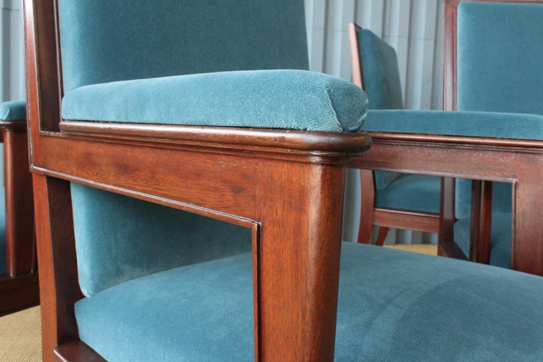 Mahogany Armchair in Velvet, France, 1940s. Set of Four Available. For Sale 8