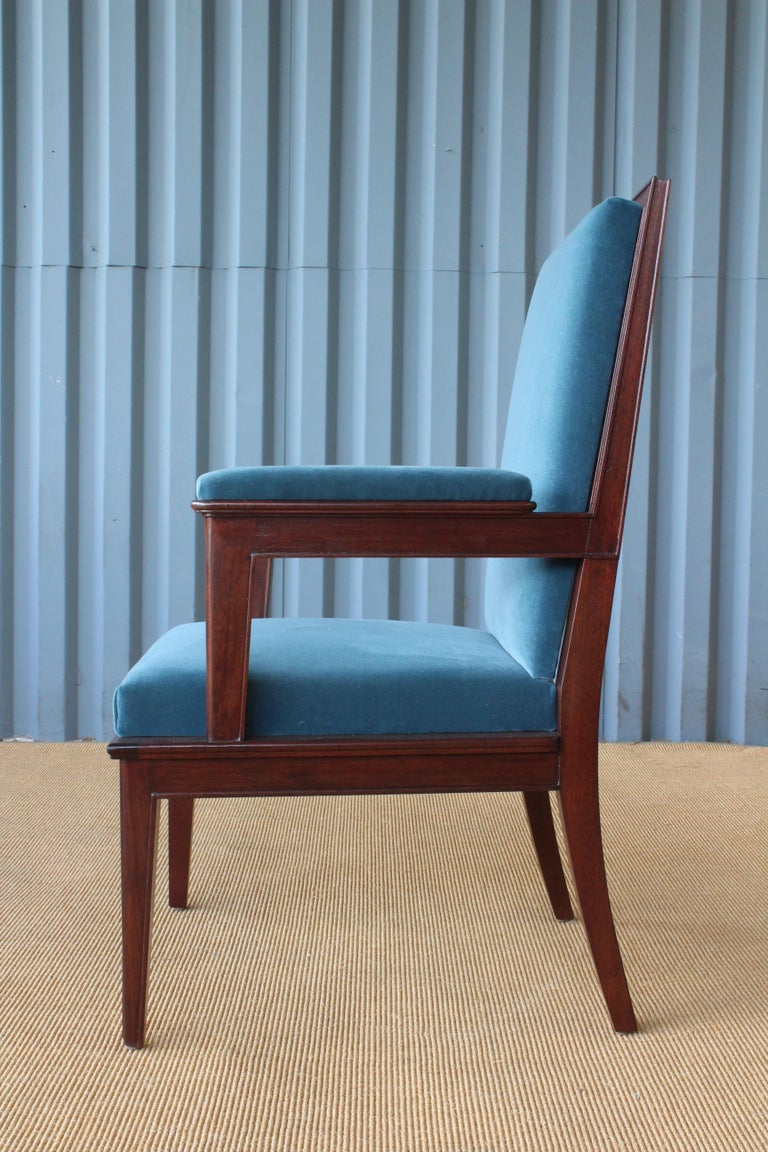 French Mahogany Armchair in Velvet, France, 1940s. Set of Four Available. For Sale