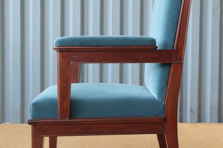 Mahogany Armchair in Velvet, France, 1940s. Set of Four Available. In Good Condition For Sale In Los Angeles, CA