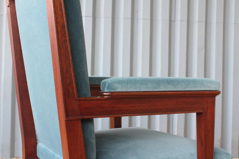 Mahogany Armchair in Velvet, France, 1940s. Set of Four Available. For Sale 1