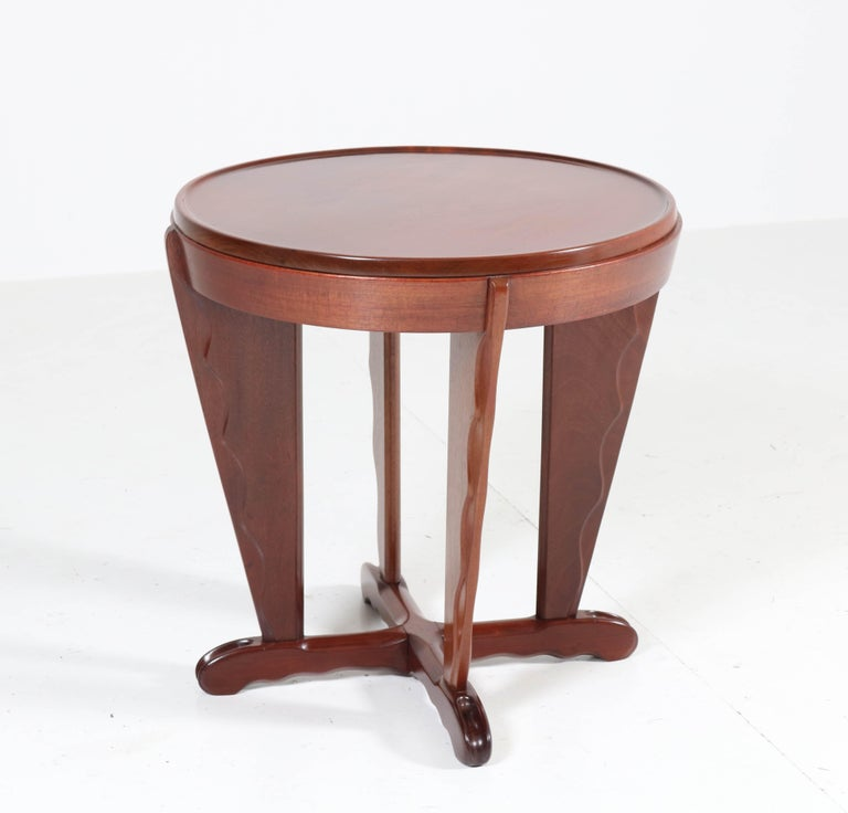 Magnificent and rare Art Deco Amsterdam School coffee table. Attributed to A.F. van der Weij. Striking Dutch design from the 1920s. Solid mahogany with nice carving. In very good condition with minor wear consistent with age and use, preserving