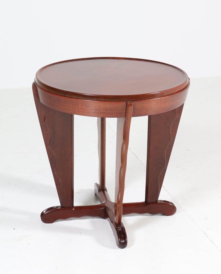 Dutch Mahogany Art Deco Amsterdam School Coffee Table Attributed to A.F. van der Weij For Sale