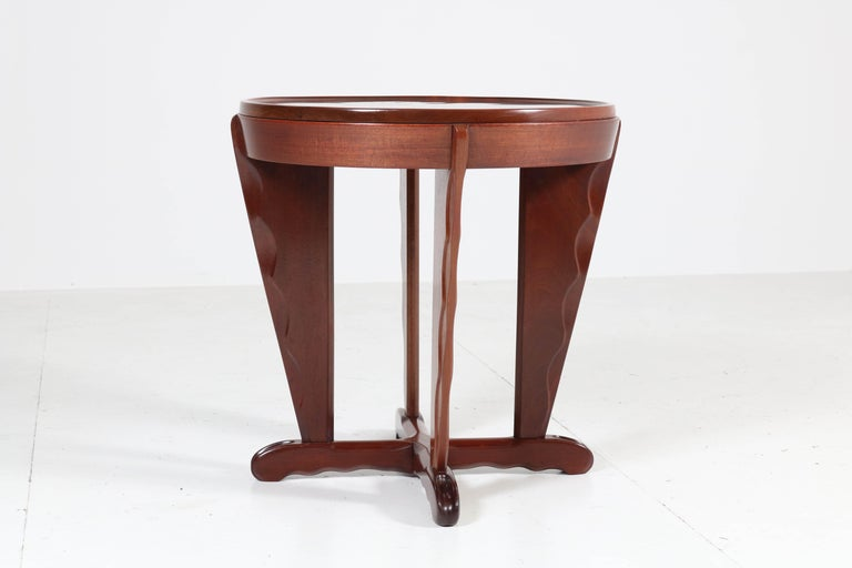 Mahogany Art Deco Amsterdam School Coffee Table Attributed to A.F. van der Weij In Good Condition For Sale In Amsterdam, NL