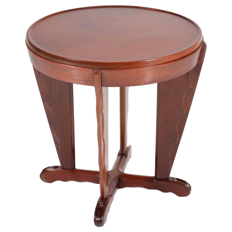 Mahogany Art Deco Amsterdam School Coffee Table Attributed to A.F. van der Weij For Sale